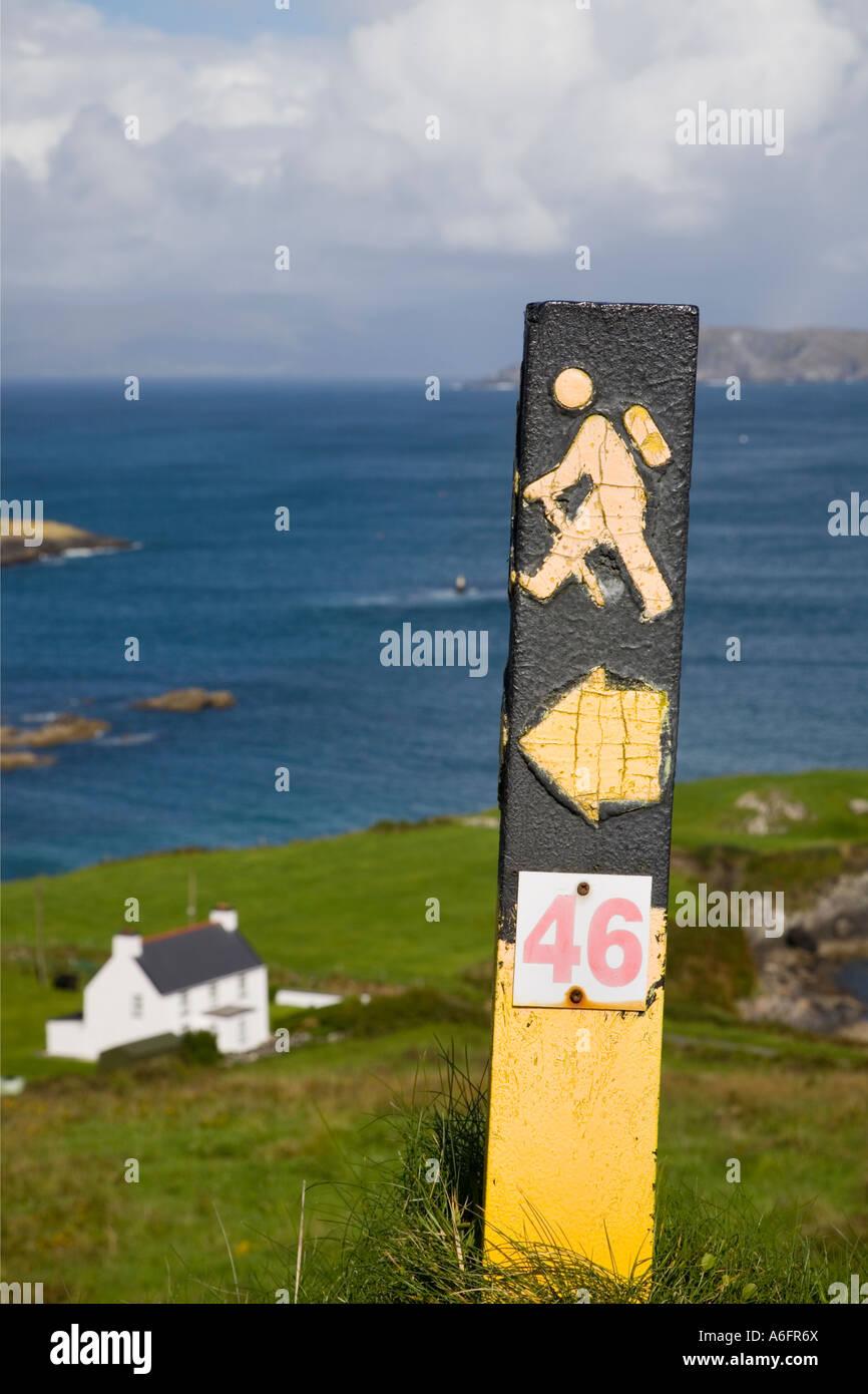 Beara Way long distance walk sign on Ring of Beara on Beara Peninsula Garnish Point County Cork Eire - Stock Image