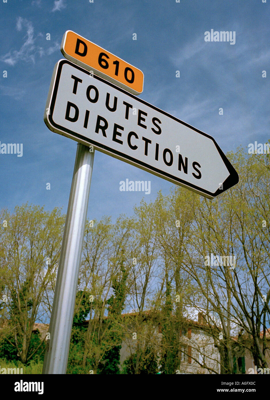 As you drive around France this road sign becomes terribly familiar - toutes directions - Stock Image
