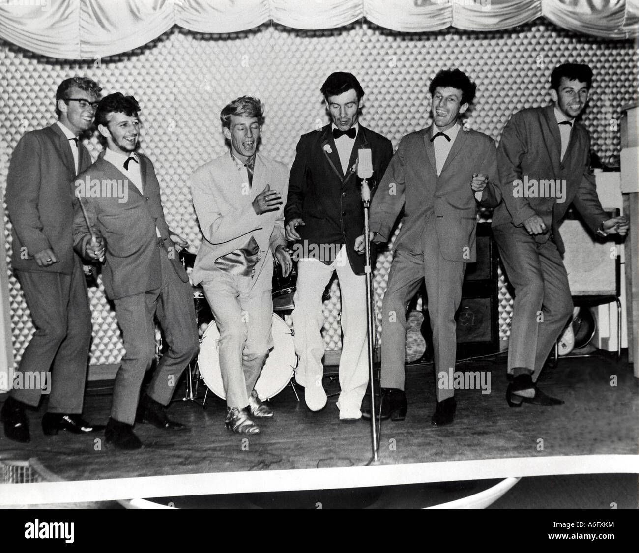 BEATLES - Ringo Starr second from left  with Rory Storm and the Hurricanes at the Butlins Holiday Camp, Skegness, - Stock Image