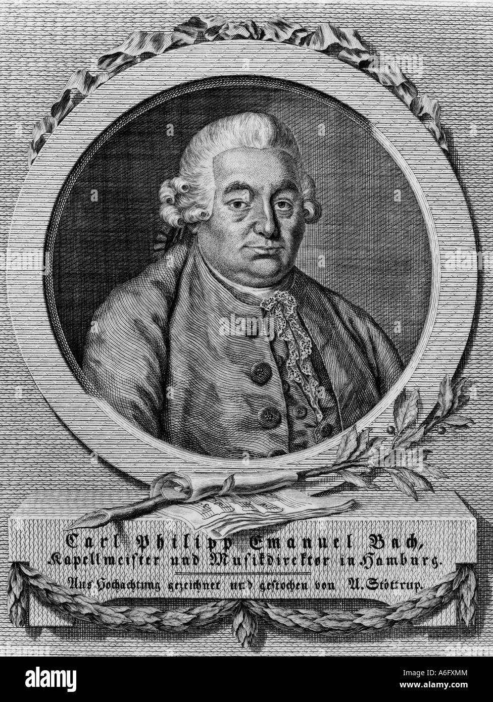 CARL PHILIPP EMANUEL BACH German composer 1714 to 1788 - Stock Image
