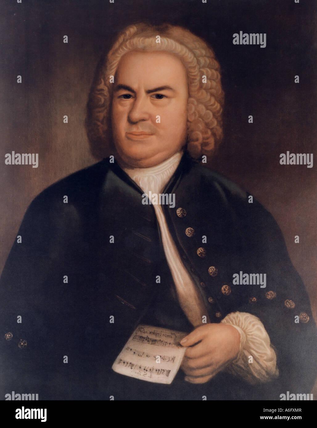 JOHANN SEBASTIAN BACH  German composer 1685 to 1750. Print of portrait by Elias Gottlieb Haussmann  in1746 - Stock Image