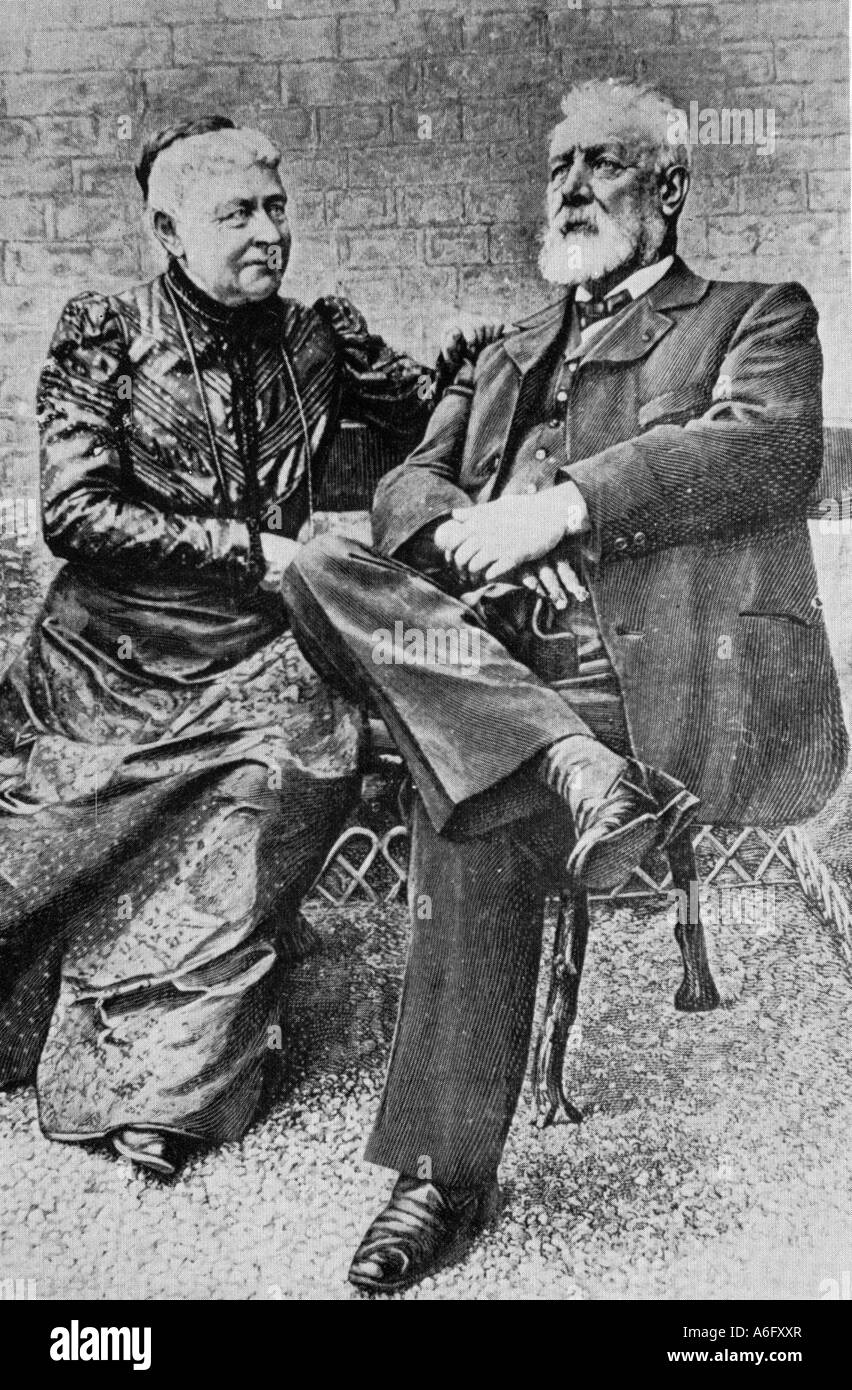 JULES VERNE French writer 1828 to 1905 with his wife Honorine Stock Photo
