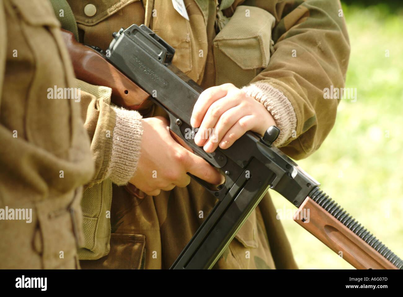 soldier fight war world two one gun bullet shoot kill warfare germany england army history d day kill ve day va - Stock Image