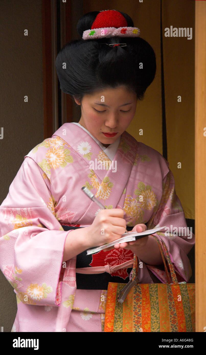 Japan Central Honshu Kansai Kyoto Ponto Cho Woman Wearing A Stock