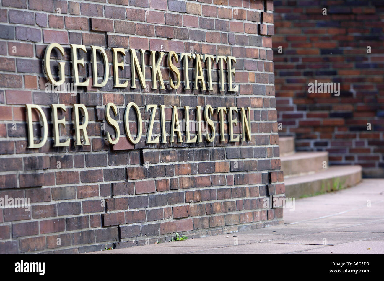 Inscription: Memorial place of the Socialists on the Central Cemetery in Berlin Lichtenberg - Stock Image