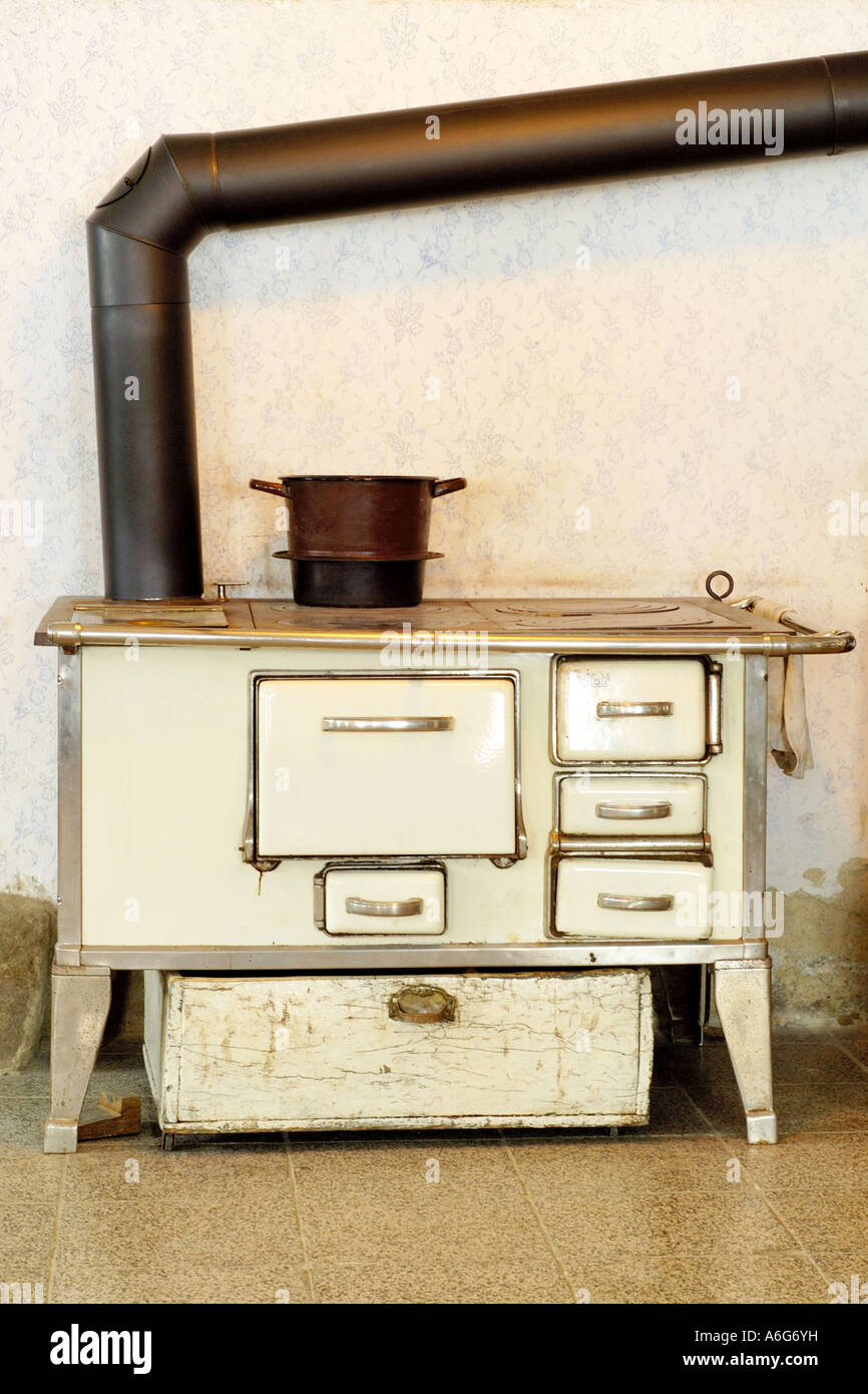 Old Kitchen Stove In Farmhouse, Germany