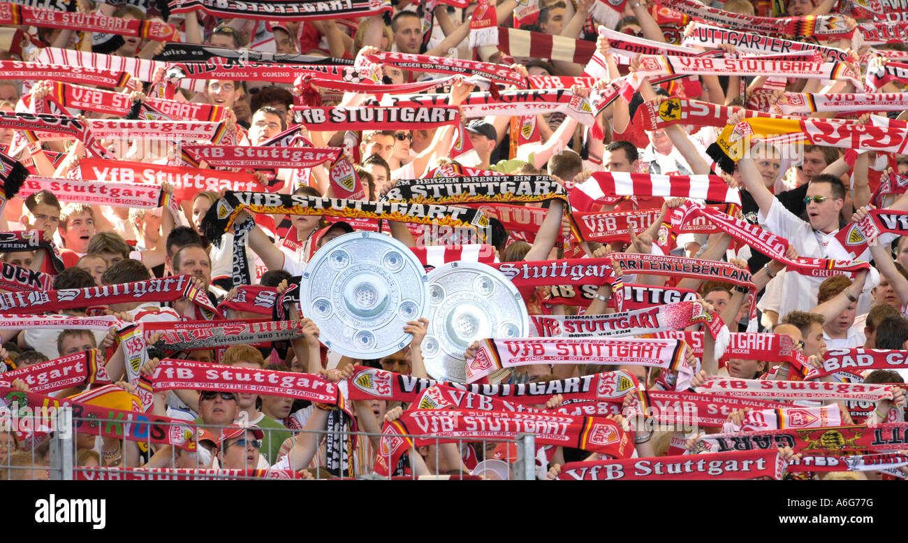 Football fans of VfB Stuttgart, with imitation of cup, Baden-Wuerttemberg, Germany, - Stock Image