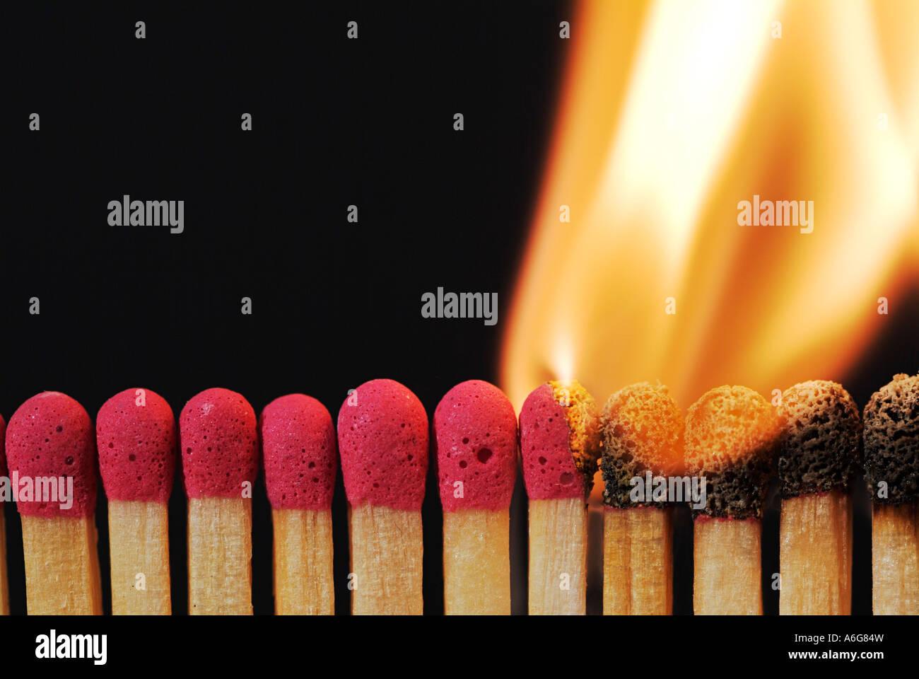 Lit Matches - Stock Image
