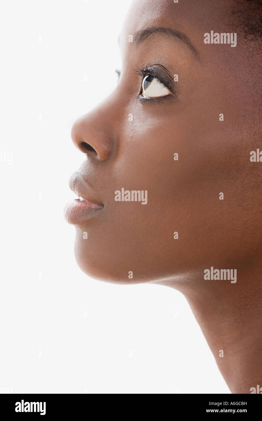 Profile of a young womans face - Stock Image