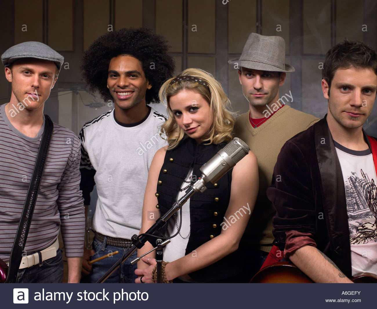 Portrait of a rock band - Stock Image