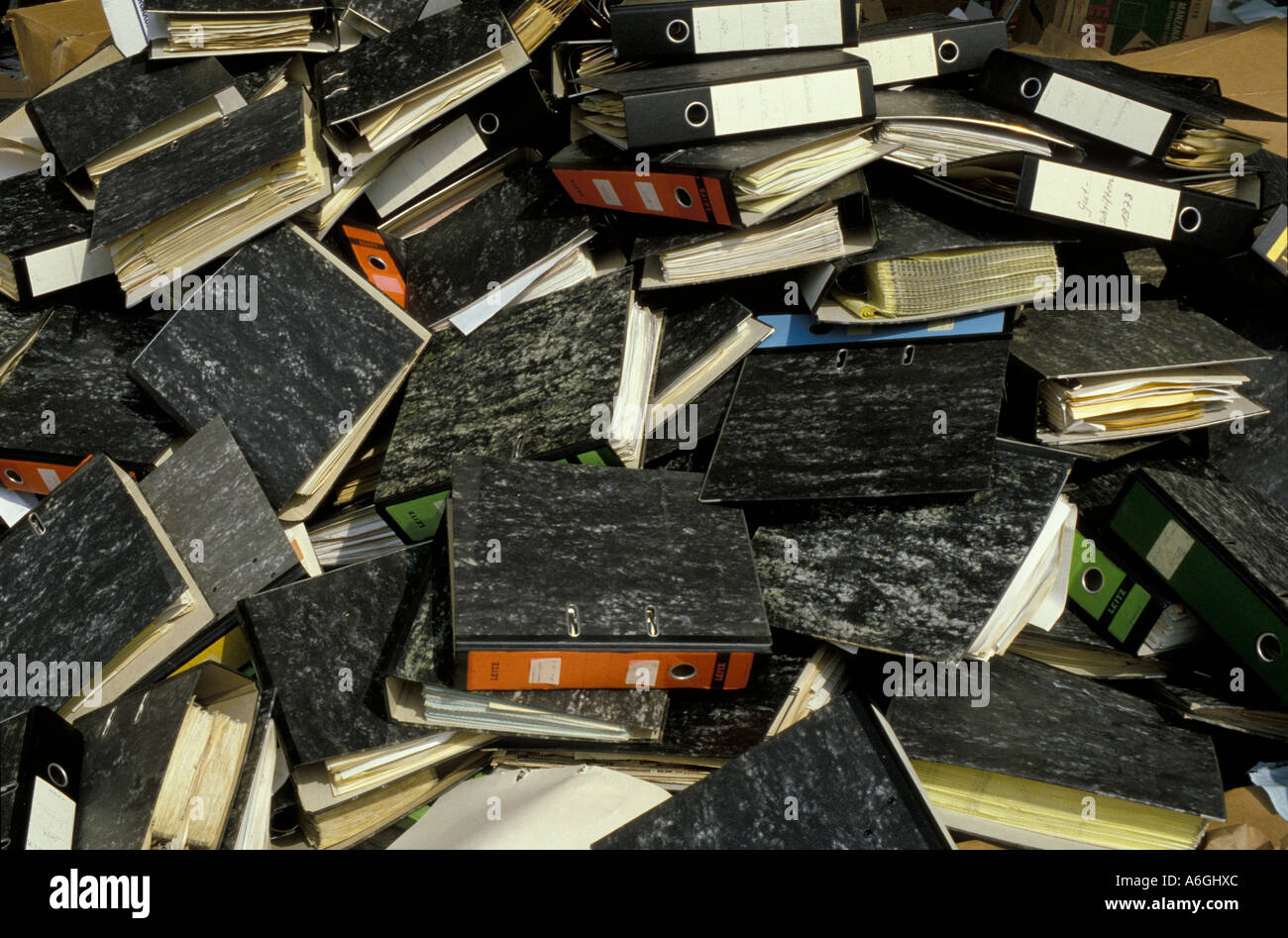 Heap of thrown away files, office waste - Stock Image