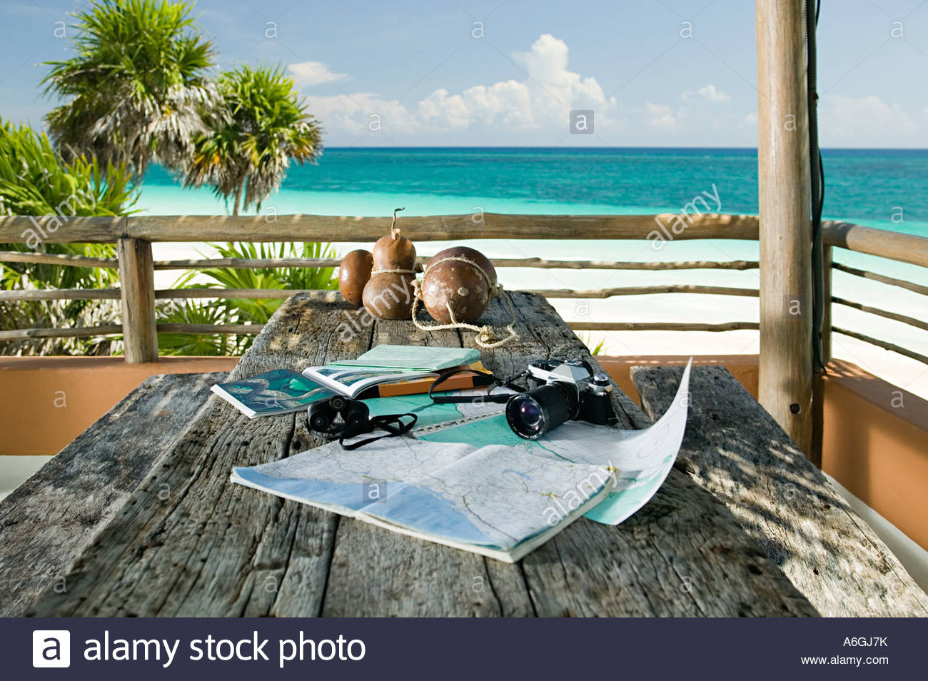 Equipment on a table in paradise - Stock Image