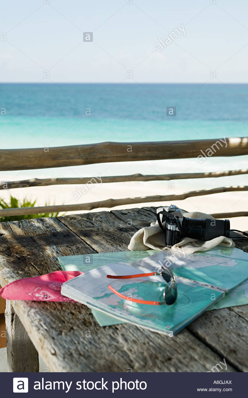Vacation equipment on a table - Stock Image