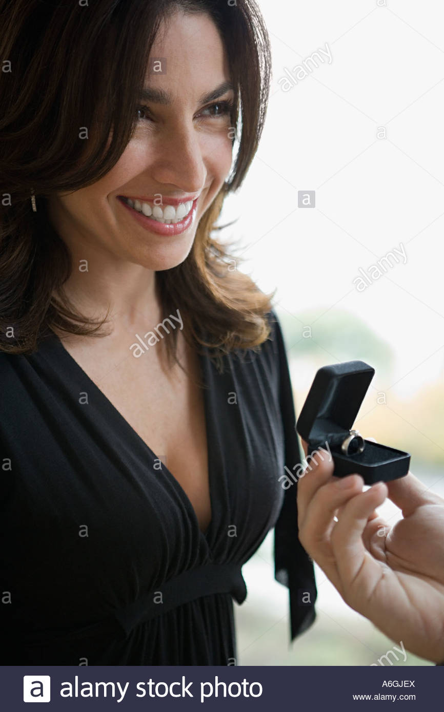 Woman being proposed to Stock Photo