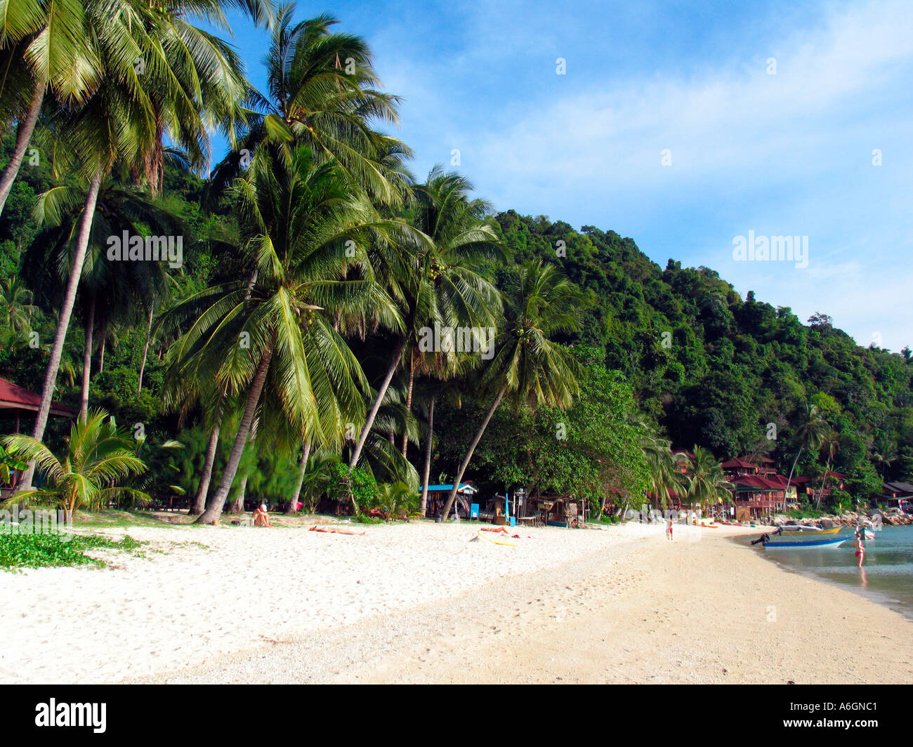 Quiet palm fringed beach Perhentian Islands Malaysia - Stock Image