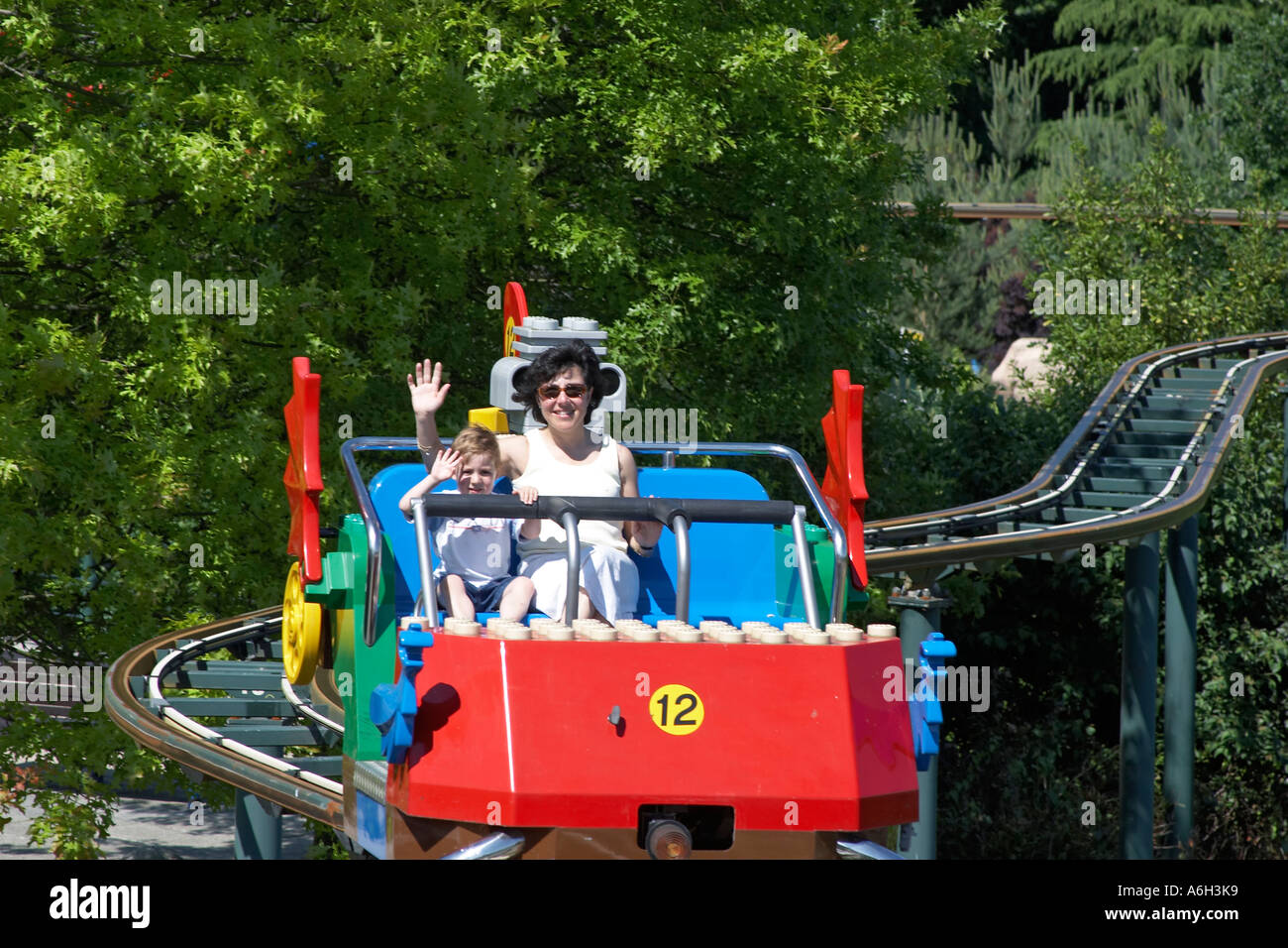 Mother and young boy son on Skyrider ride in Legoland Stock Photo