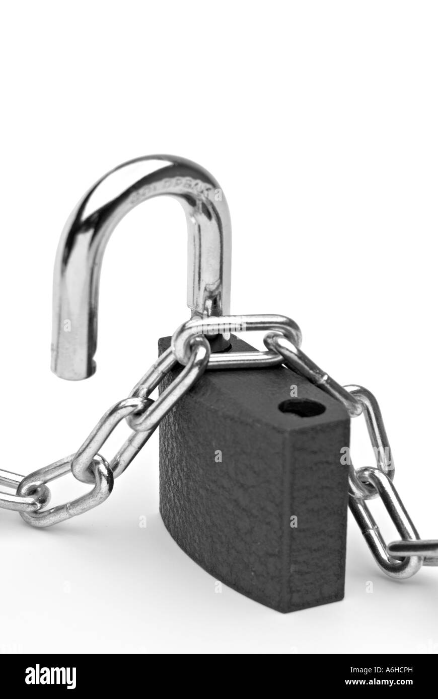 Lock and chain in black and white - Stock Image