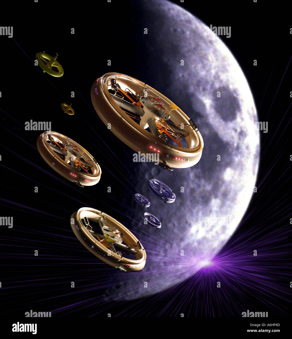 UFOs in Space - Stock Image