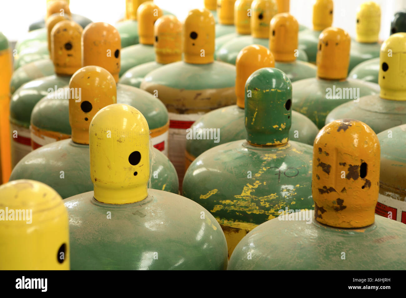 Canisters of toxic gases - Stock Image