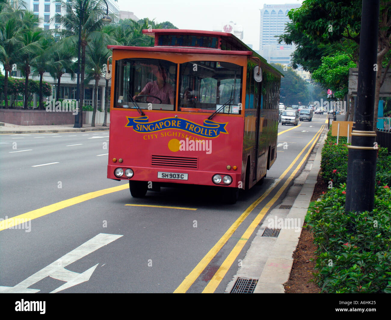 Singapore Trolley city sightseeing bus - Stock Image