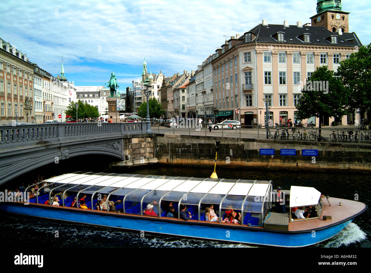 Tourist boat in Frederiksholms channel.Copenhagen.Denmark - Stock Image