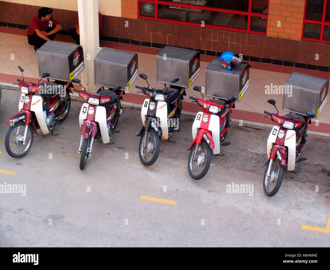 Pizza Hut Delivery Mopeds Wth Warm Storage Boxes Kota Bharu Malaysia