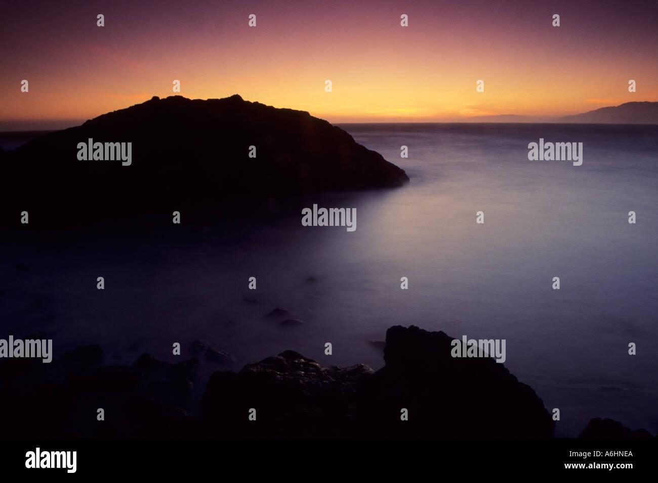 Twilight at Ocean Beach near Sutro Bath ruins, San Francisco, California, USAStock Photo