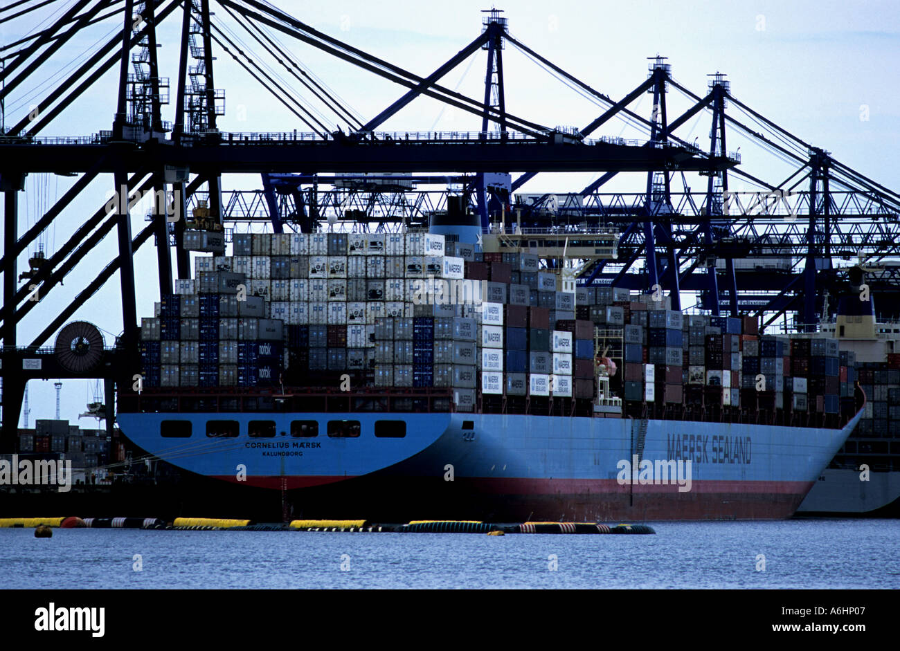 'Cornelius Maersk' container ship at berth on Trinitry Quay at the Port of Felixstowe, Suffolk, UK. Stock Photo