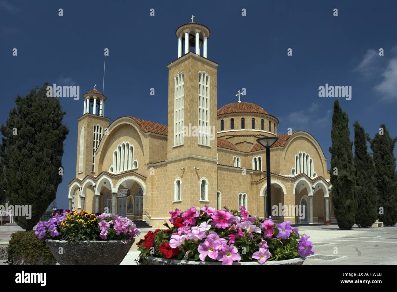 The new St George church in Paralimni Cyprus  Stock Photo