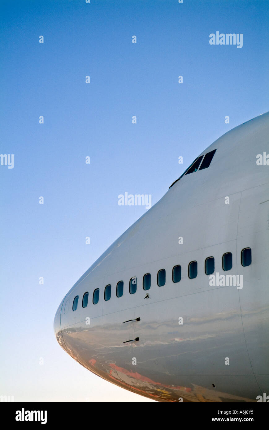 The front of a Boeing 747 aircraft - Stock Image