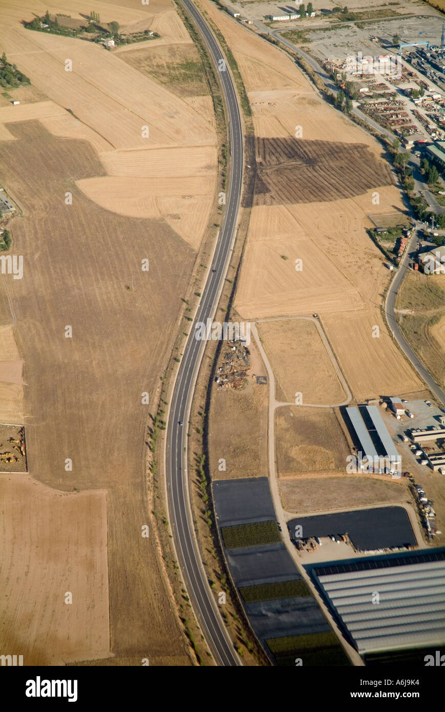Aerial view of a highway near Madrid in Spain, Europe - Stock Image