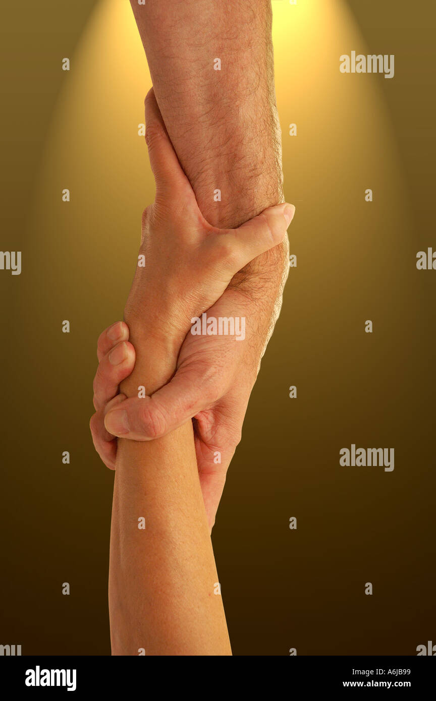 Gripping Hands Stock Photo