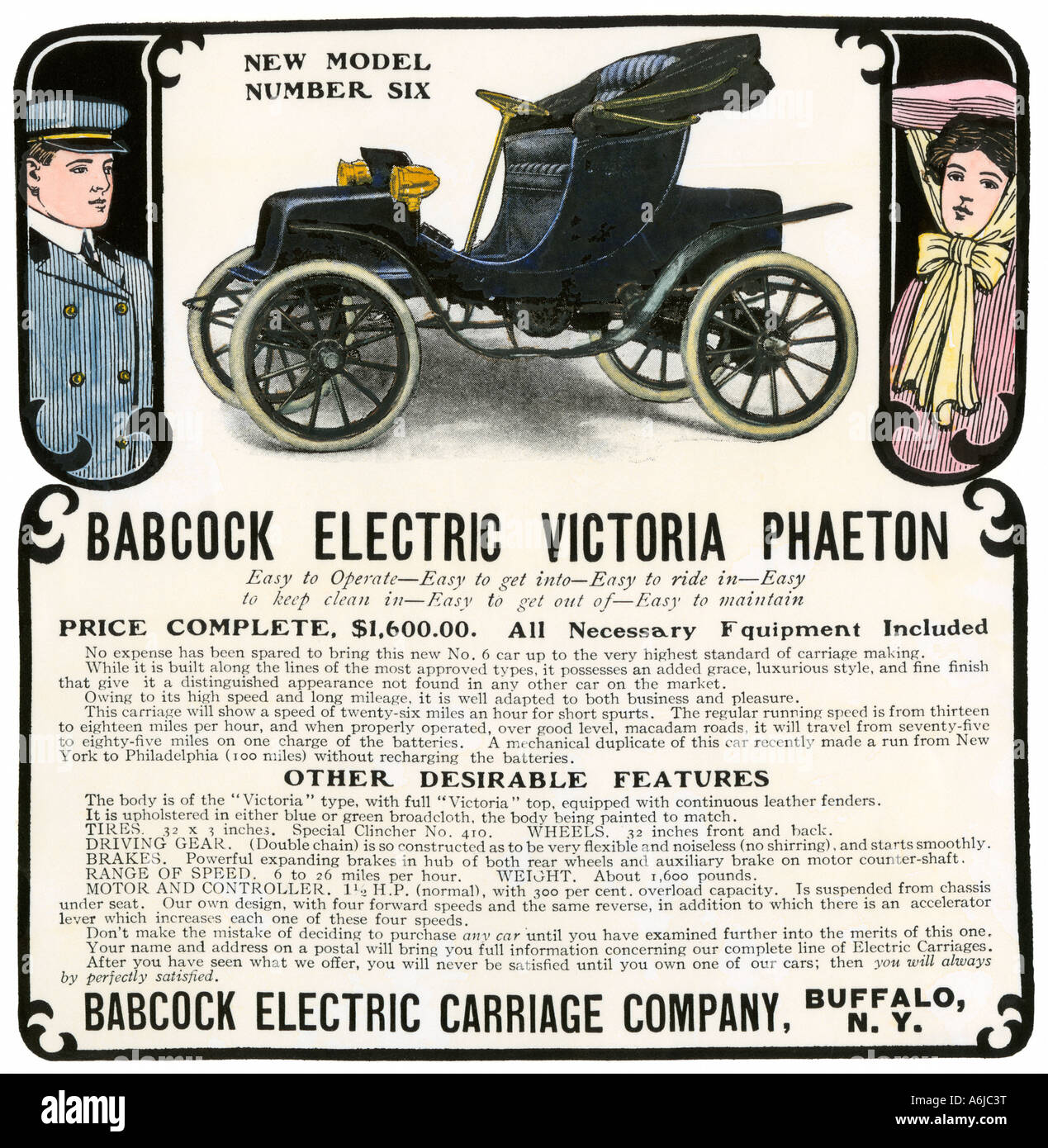 Early electric car ad for the Babcock Electric Victoria Phaeton 1907. Hand-colored woodcut - Stock Image