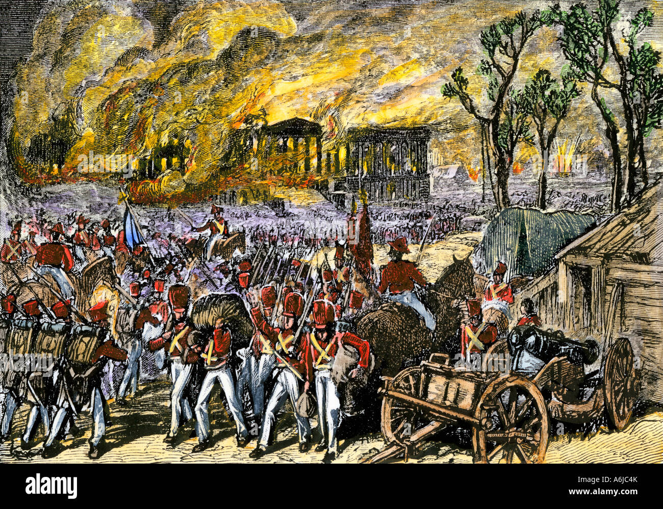 Capture and burning of Washington DC by the British in 1814 during the War  of 1812. Hand-colored woodcut