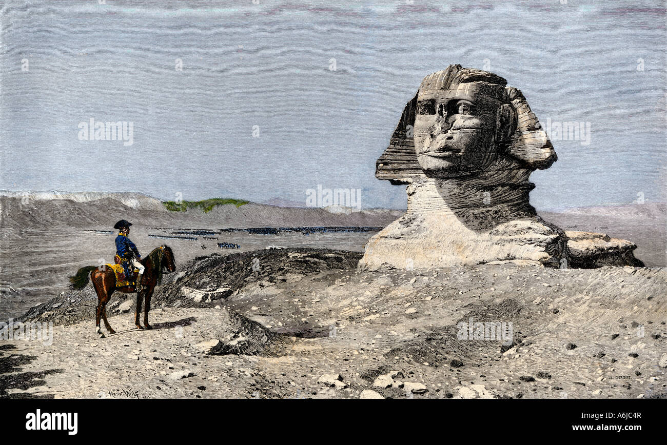 Napoleon and the Sphinx during the French invasion of Egypt 1798. Hand-colored woodcut of a Gerome painting - Stock Image