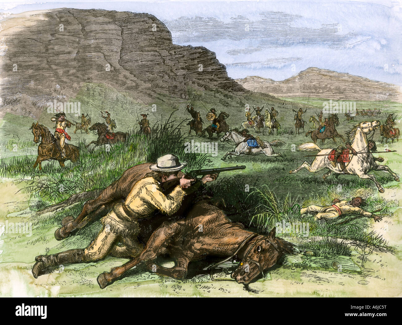Scout for General Custer surrounded by hostile Arapahoes in the Black Hills 1874. Hand-colored woodcut - Stock Image