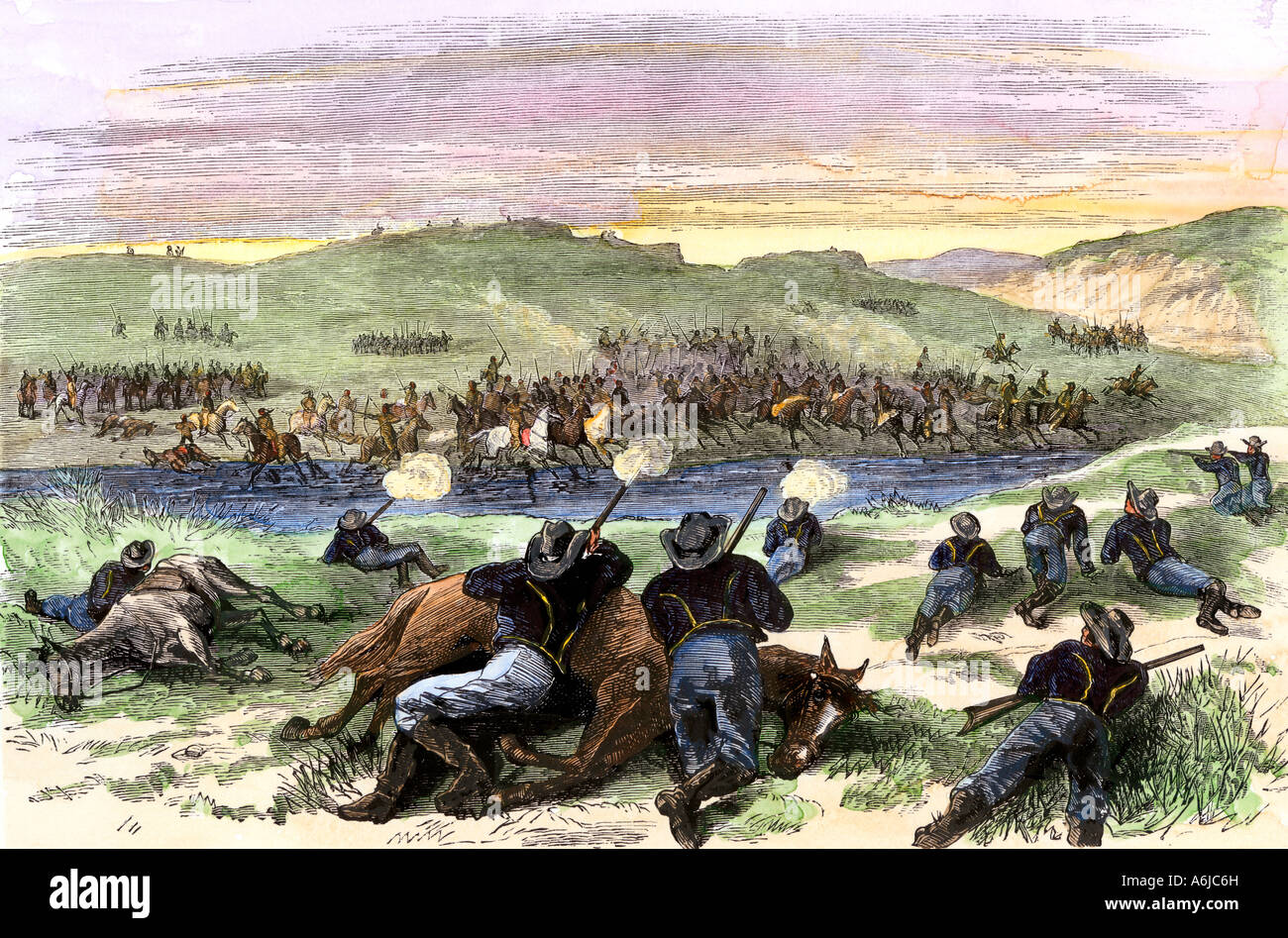 Battle of Beecher Island on the Arikaree Fork between Buffalo Soldiers and southern Plains Indians 1868. Hand-colored - Stock Image