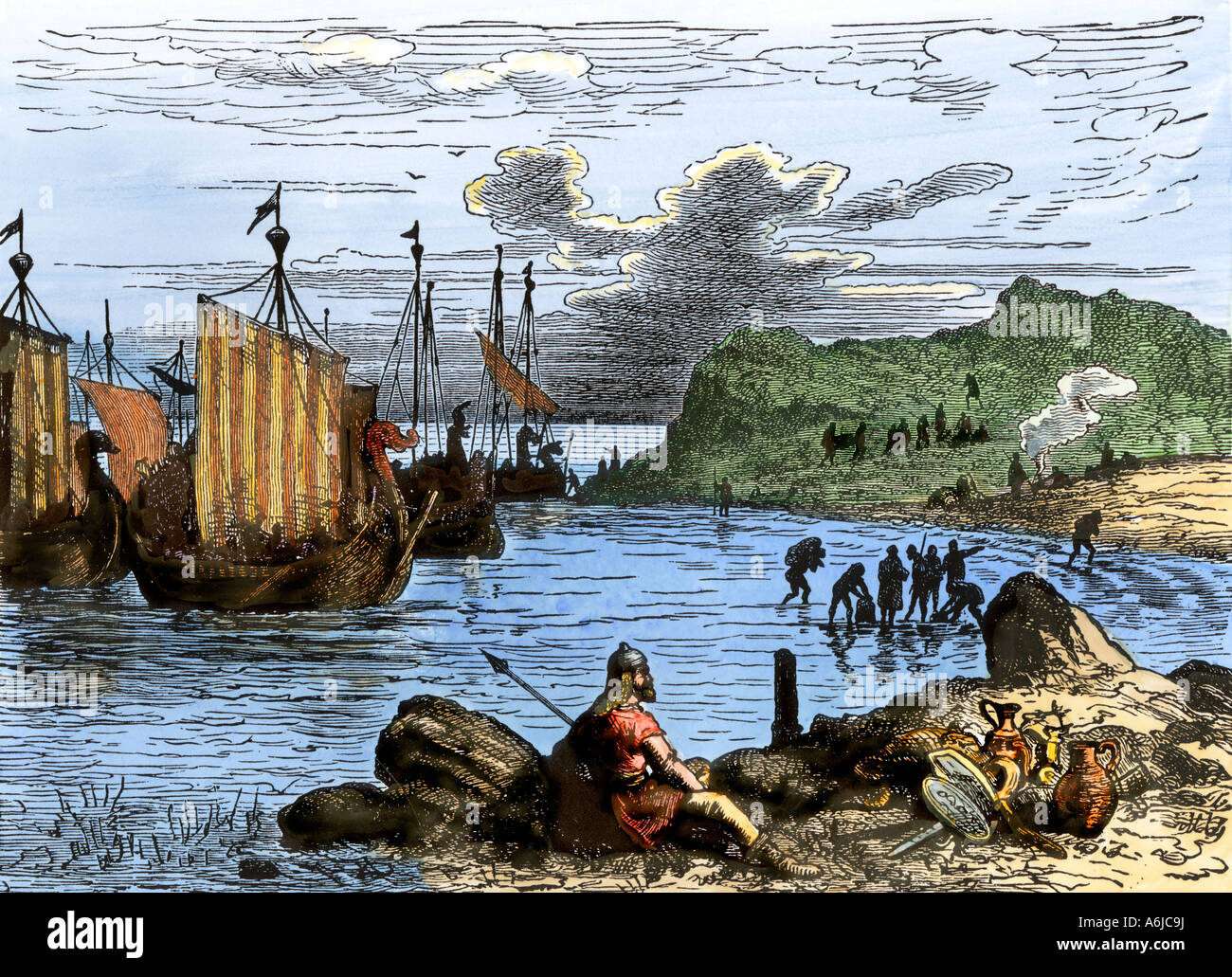 Norman invaders landing on the English coast in 1066. Hand-colored woodcut - Stock Image