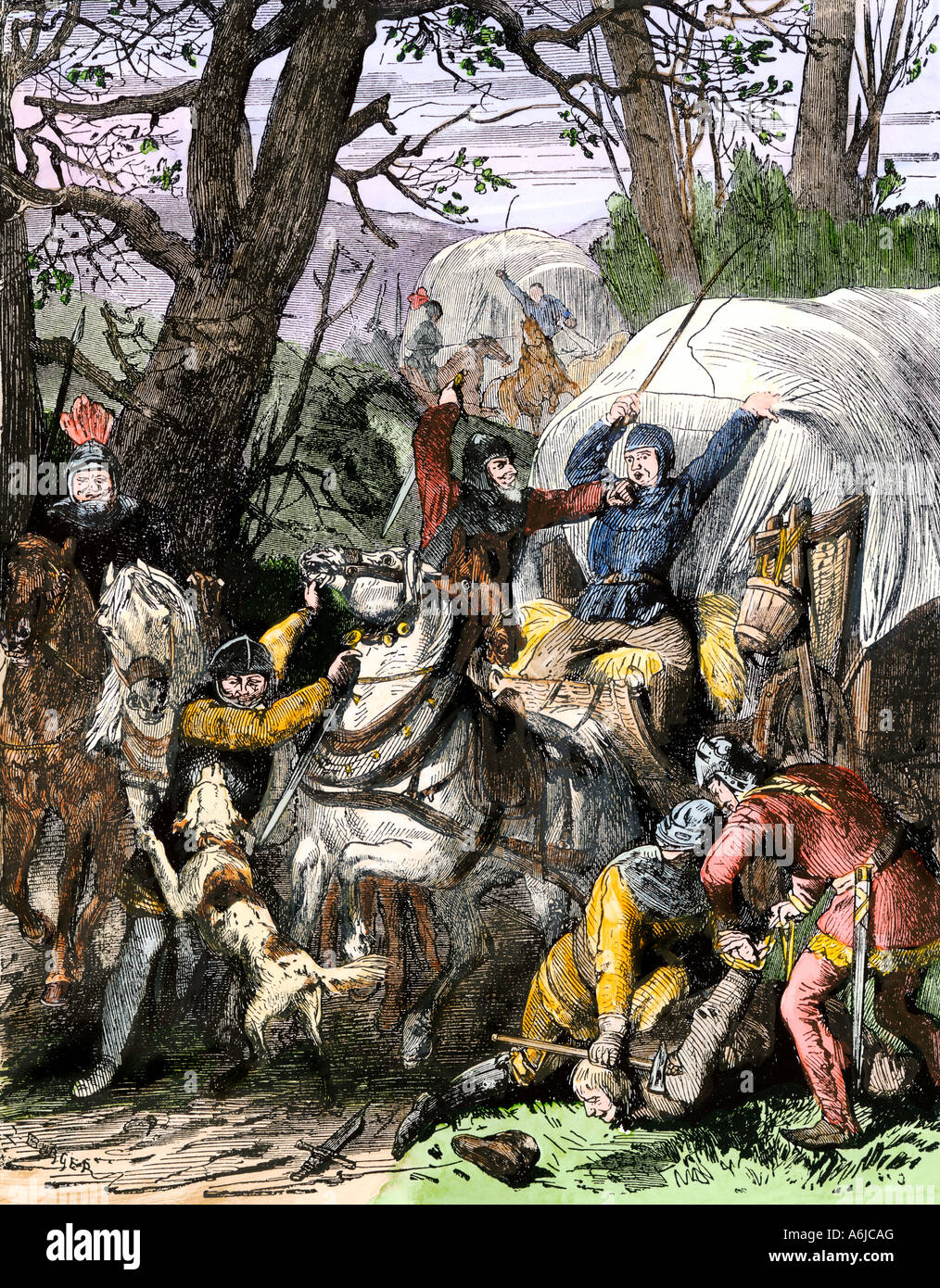 Norman barons waylaying travelers in England in the late Middle Ages. Hand-colored woodcut - Stock Image