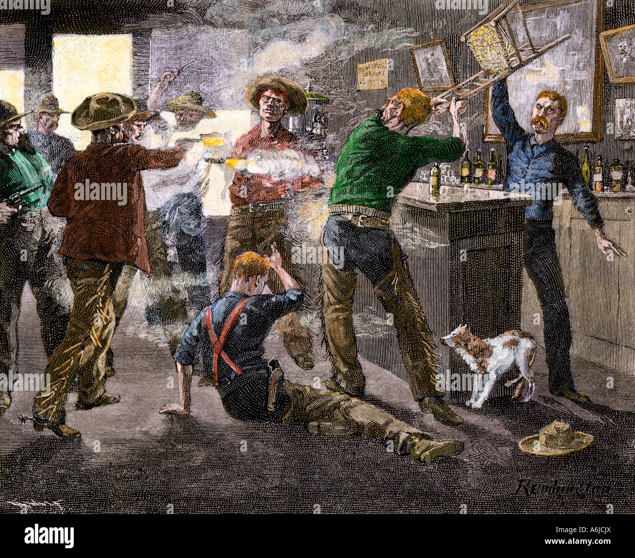 Saloon brawl in a western cattle town in the late 1800s. Hand-colored woodcut of a Frederic Remington illustration - Stock Image
