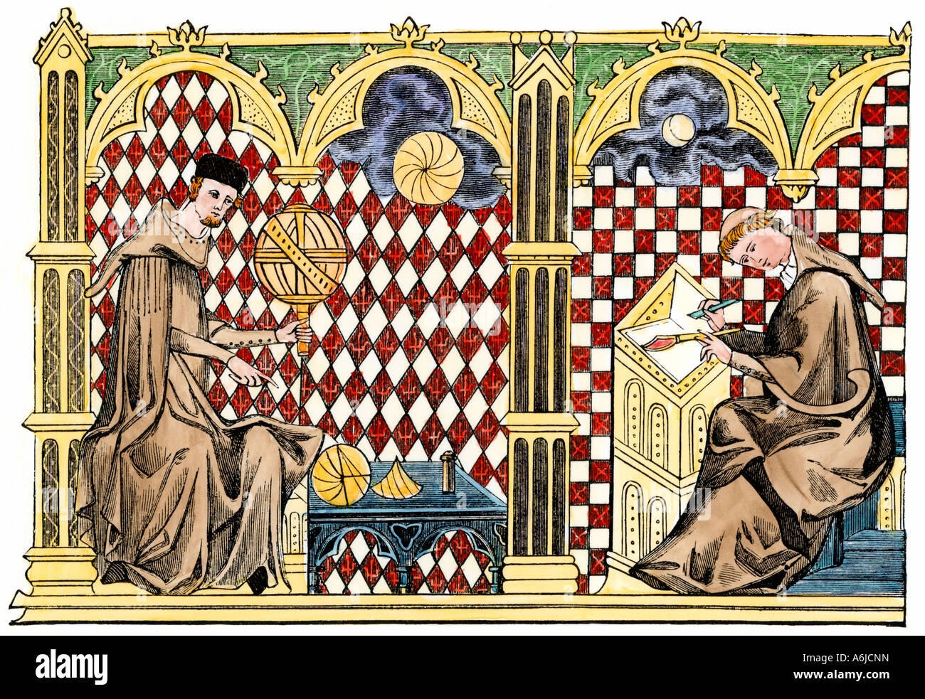 Monk mathematician studying a globe and another scholar copying a manuscript 1200s. Hand-colored woodcut - Stock Image