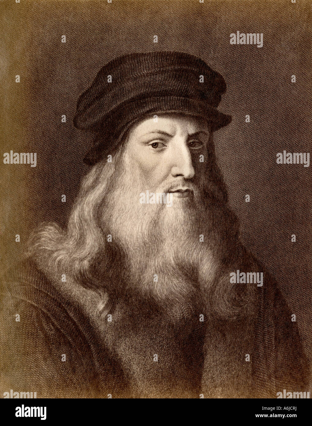 Leonardo da Vinci. Photograph of an illustration - Stock Image