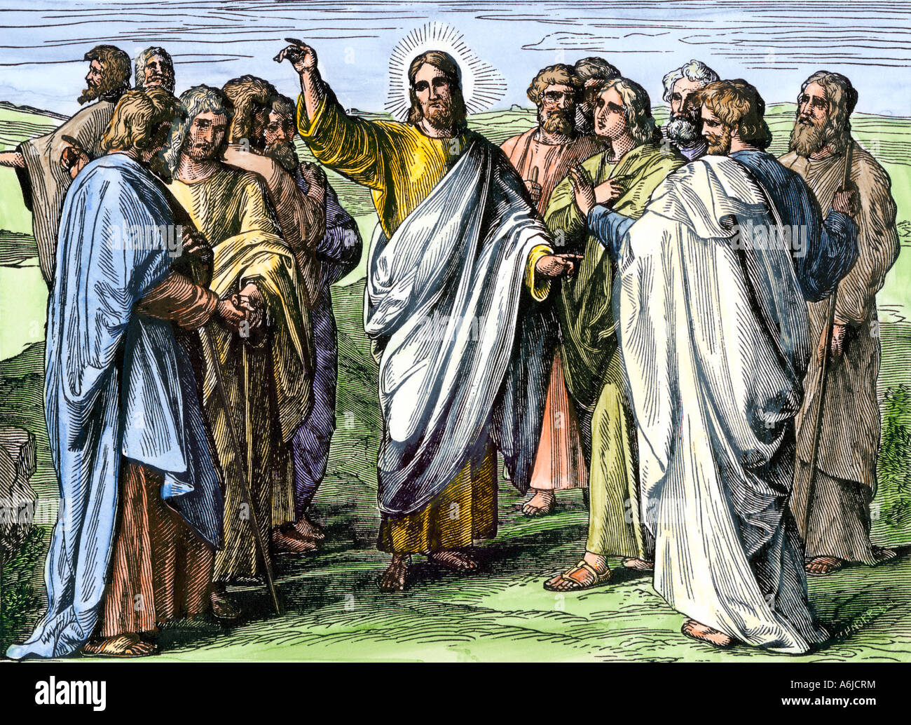 Jesus addressing the Apostles after Resurrection. Hand-colored woodcut - Stock Image