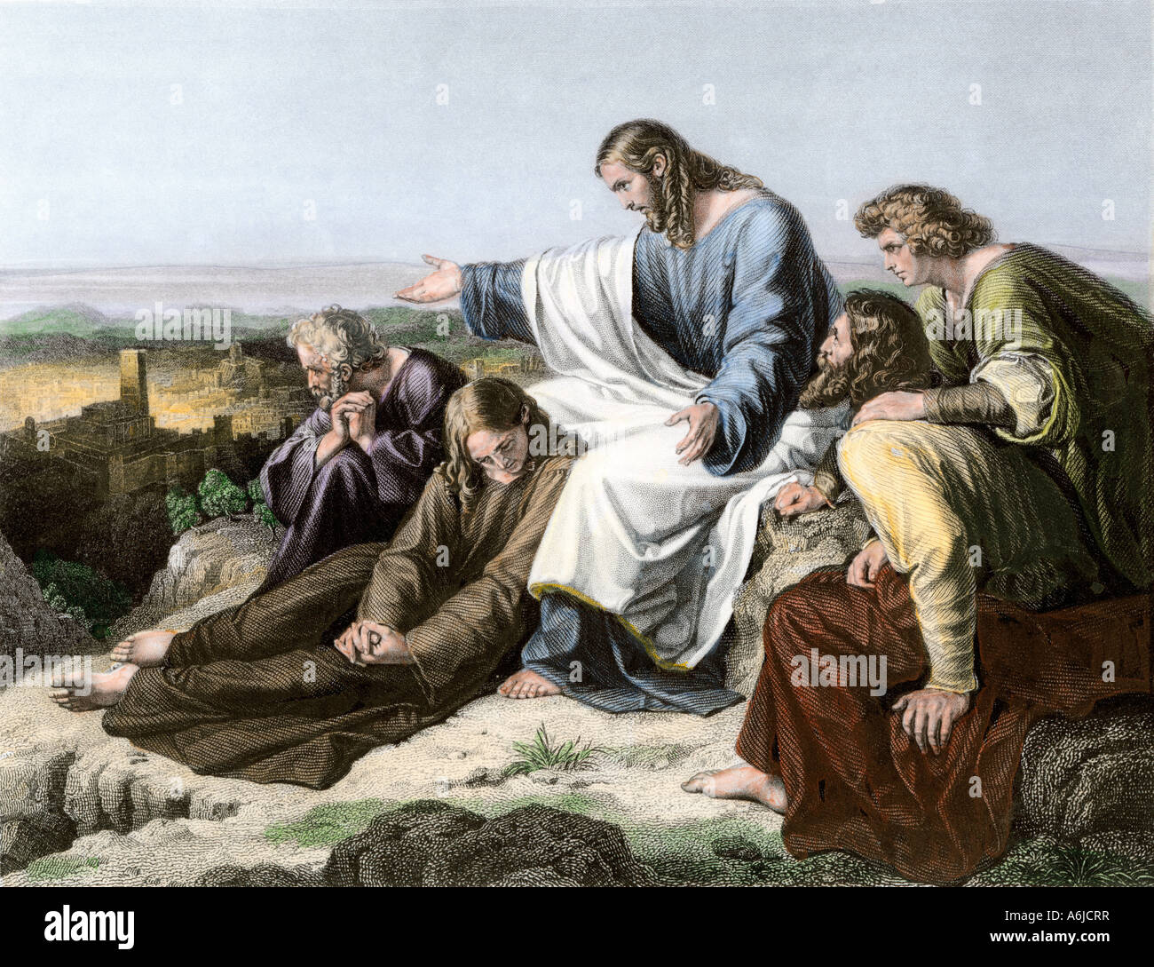 Jesus lamenting the fate of Jerusalem. Hand-colored engraving - Stock Image