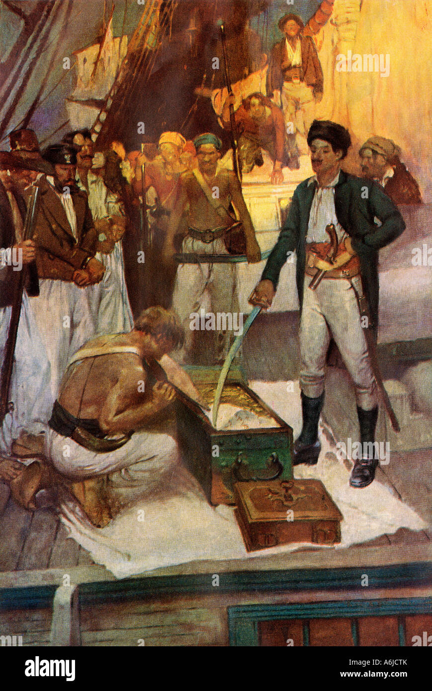 Pirate Jean Lafitte accepts a chest of ransom. Color halftone of a Frank Schoonover illustration - Stock Image