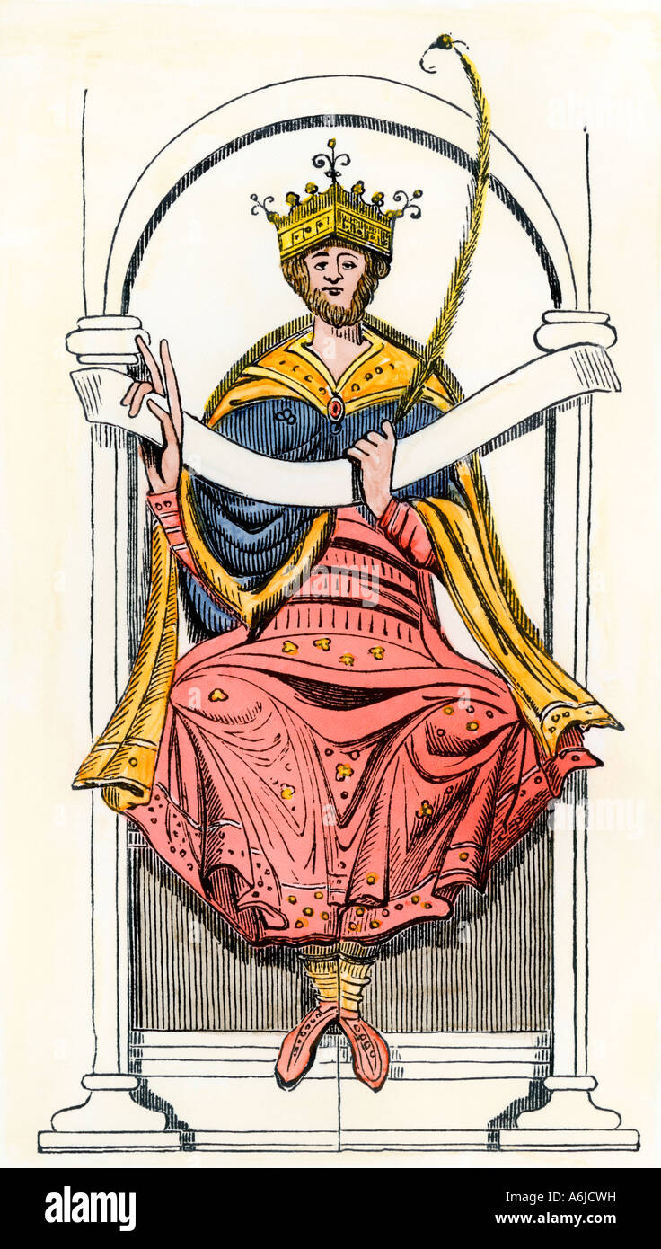Anglo-Saxon King Edgar the Aetheling. Hand-colored woodcut - Stock Image