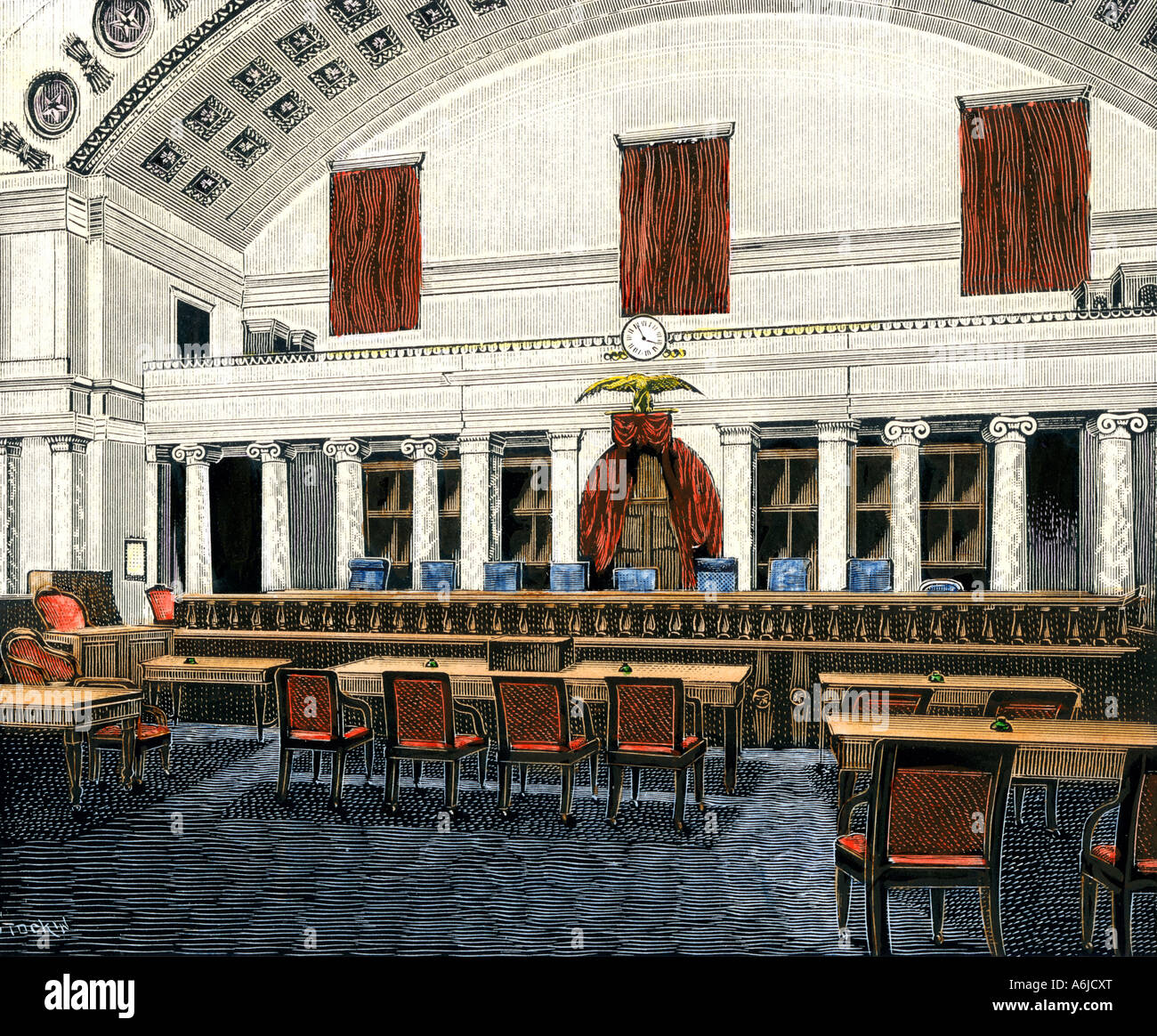 United States Supreme Court room 1890s. Hand-colored woodcut - Stock Image