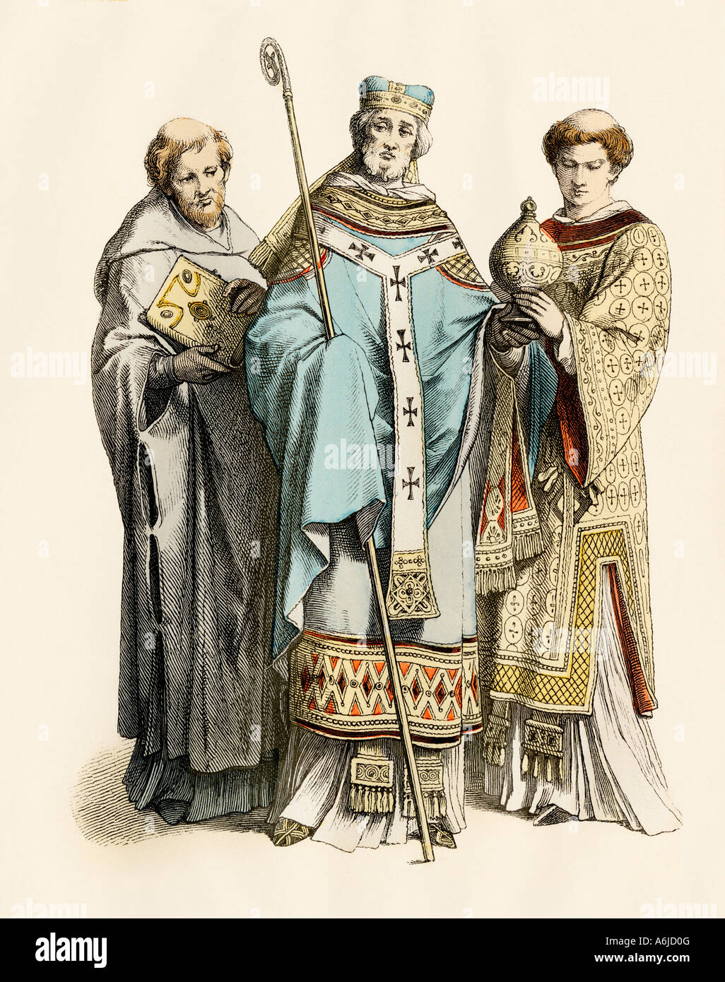 Monk archbishop and priest of the 11th century. Hand-colored print - Stock Image