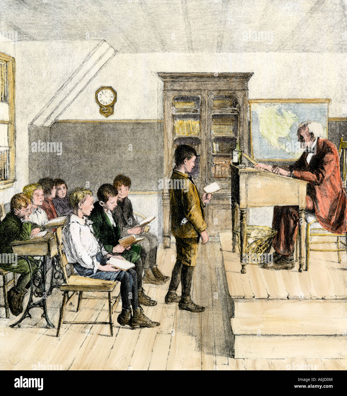 Boys doing a reading lesson in a schoolroom 1800s. Hand-colored woodcut - Stock Image