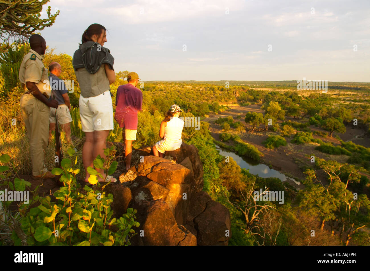 Guests on bush walk. Mashatu Game Reserve, Northern Thuli Block, Botswana - Stock Image